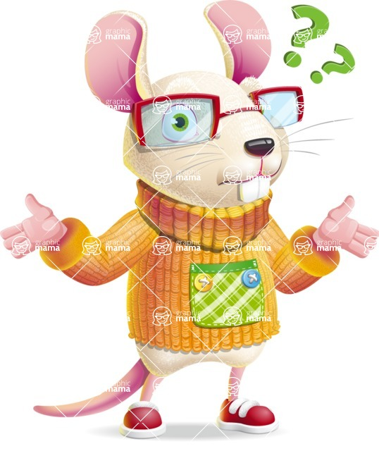 Cute Little Mouse Cartoon Character - Feeling Confused