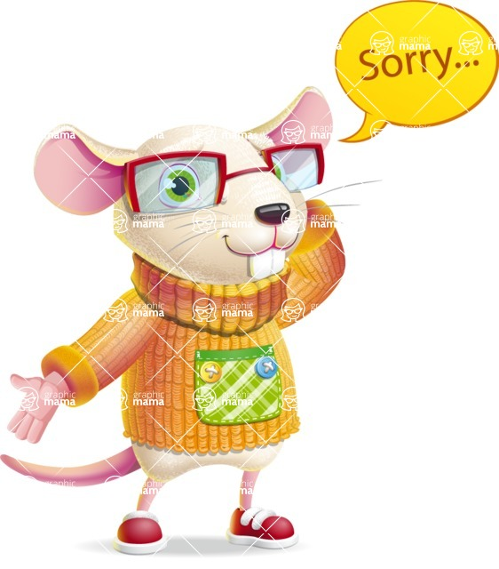 Cute Little Mouse Cartoon Character - Feeling sorry