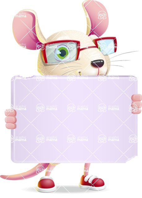 Cute Little Mouse Cartoon Character - Holding a Big Blank banner
