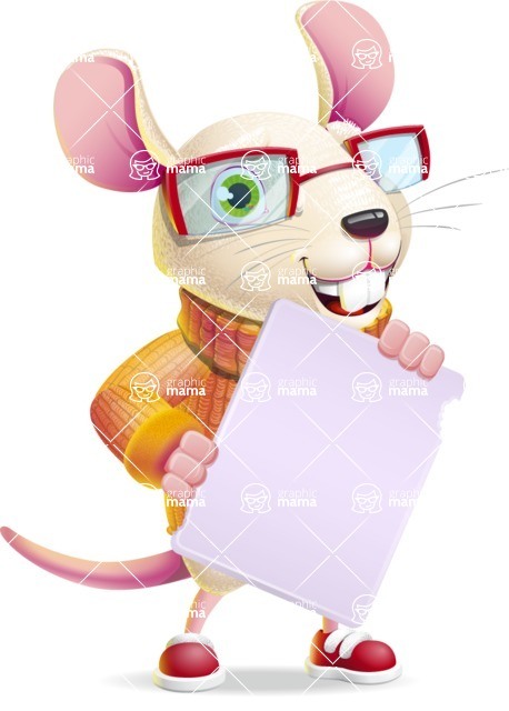 Cute Little Mouse Cartoon Character - Holding a Blank banner