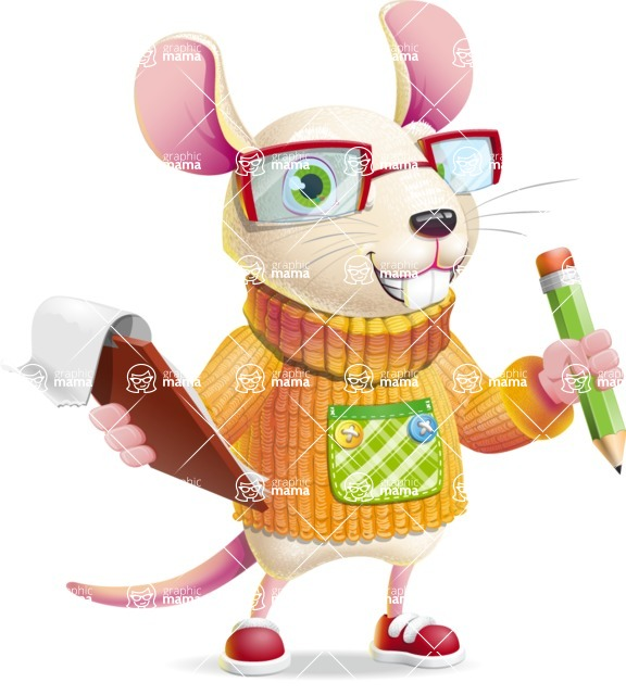 Cute Little Mouse Cartoon Character - Holding a notepad with pencil