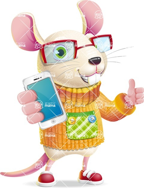 Cute Little Mouse Cartoon Character - Holding a smartphone
