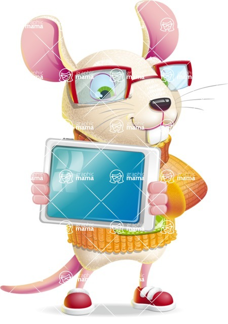 Cute Little Mouse Cartoon Character - Holding tablet