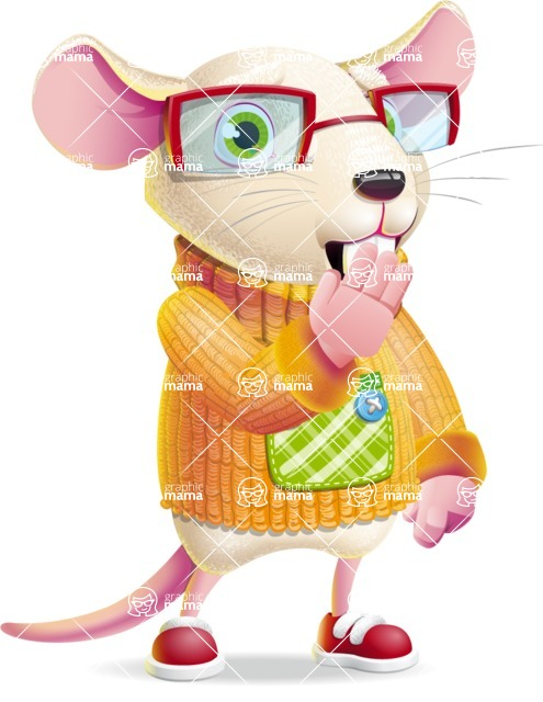Cute Little Mouse Cartoon Character - Making Oops gesture