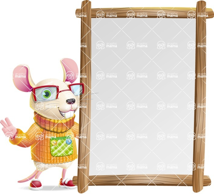 Cute Little Mouse Cartoon Character - Making peace sign with Big Presentation board