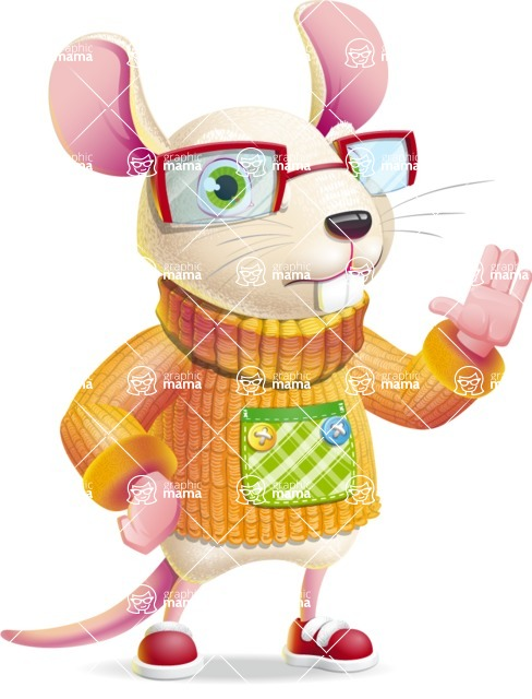 Cute Little Mouse Cartoon Character - Making stop with a hand