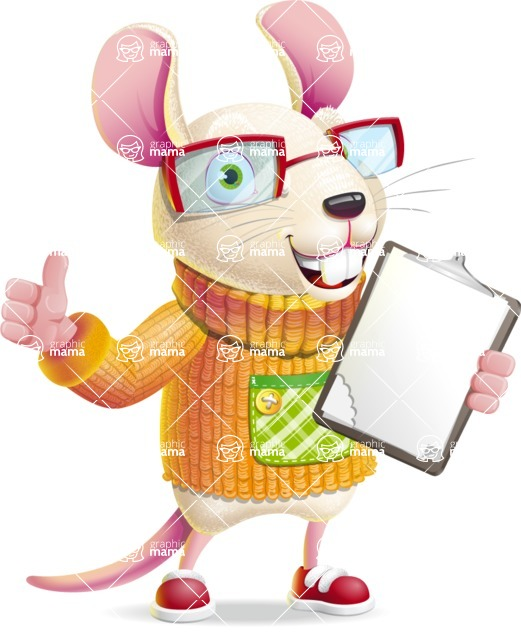 Cute Little Mouse Cartoon Character - Making thumbs up with notepad