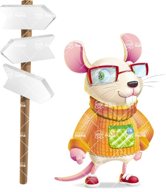 Cute Little Mouse Cartoon Character - on a Crossroad with sign pointing in all directions