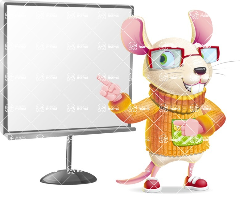 Cute Little Mouse Cartoon Character - Pointing on a Blank whiteboard