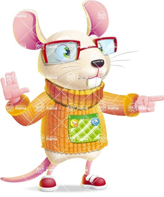 Cute Little Mouse Cartoon Character - Pointing with a fnger