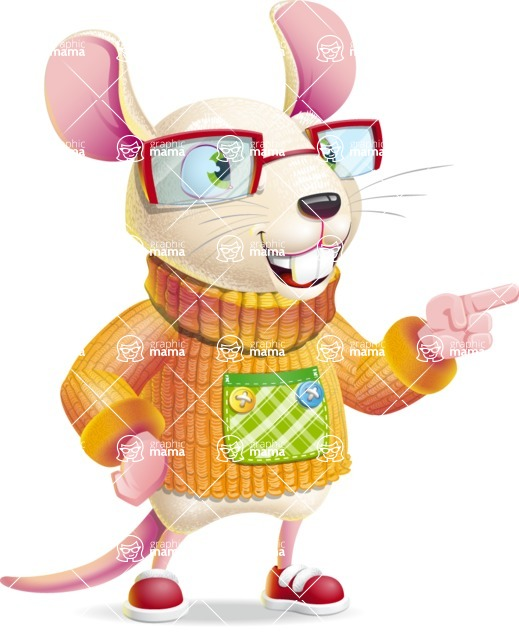 Cute Little Mouse Cartoon Character - Pointing with left hand