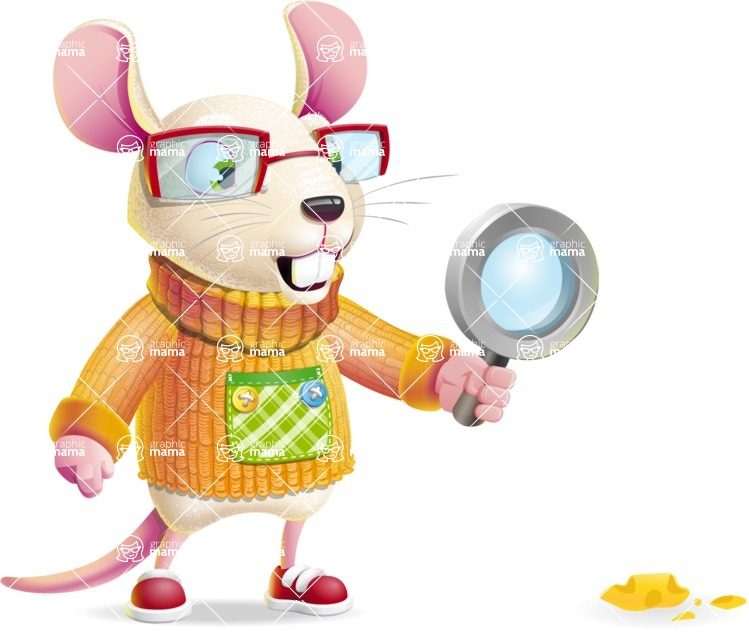 Cute Little Mouse Cartoon Character - Searching with magnifying glass