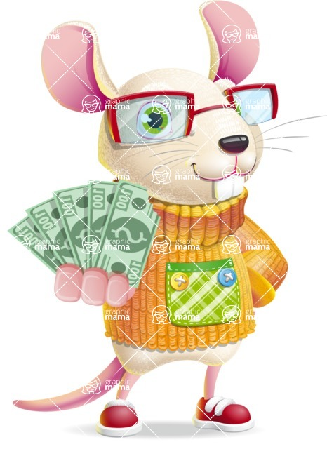 Cute Little Mouse Cartoon Character - Show me the Money