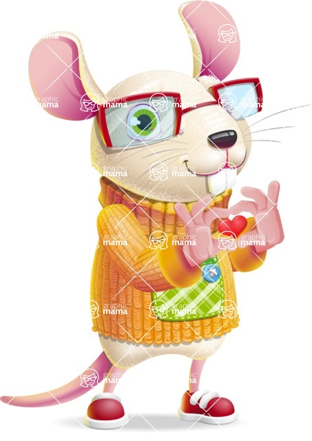 Cute Little Mouse Cartoon Character - Showing Love