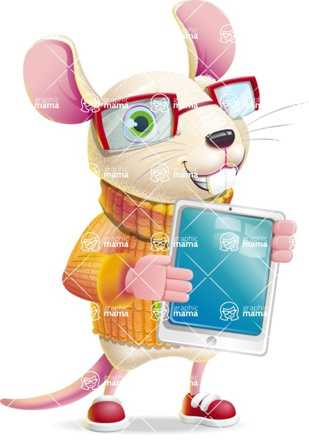 Cute Little Mouse Cartoon Character - Showing tablet