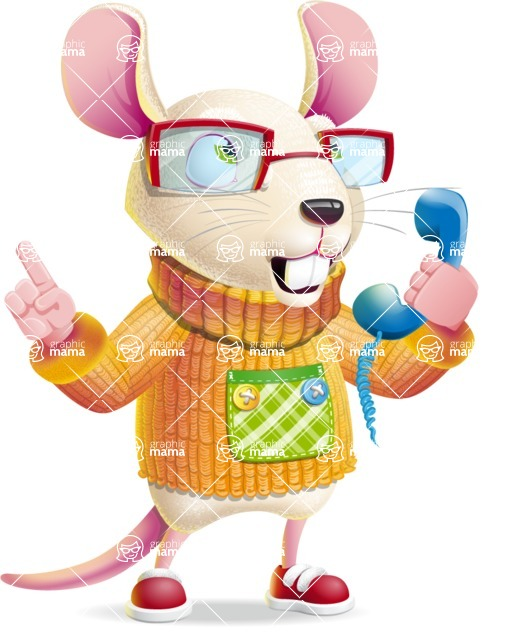 Cute Little Mouse Cartoon Character - Talking on phone
