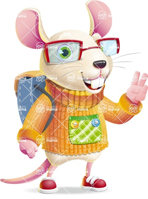 Cute Little Mouse Cartoon Character - Traveling