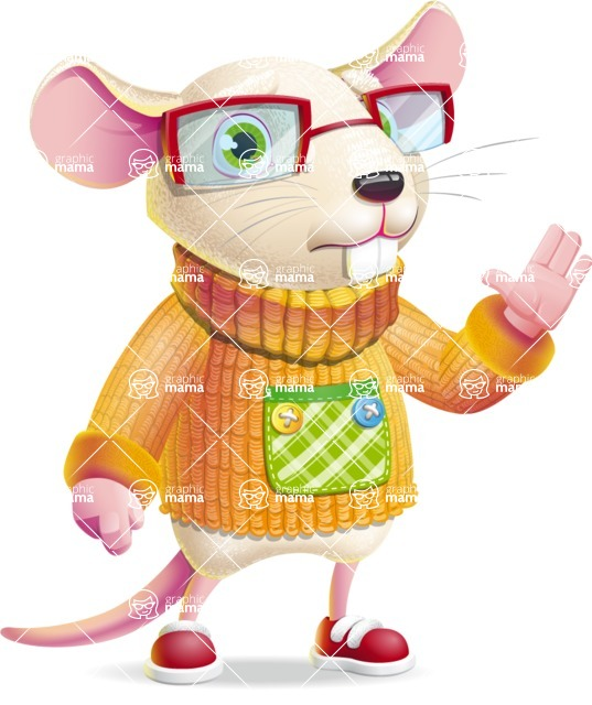 Cute Little Mouse Cartoon Character - Waving for Goodbye with a hand