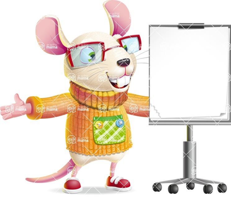 Cute Little Mouse Cartoon Character - with a Blank Presentation board