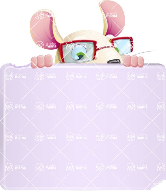 Cute Little Mouse Cartoon Character - with a Blank Presentation sign