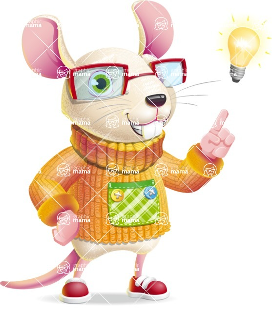 Cute Little Mouse Cartoon Character - with a Light bulb