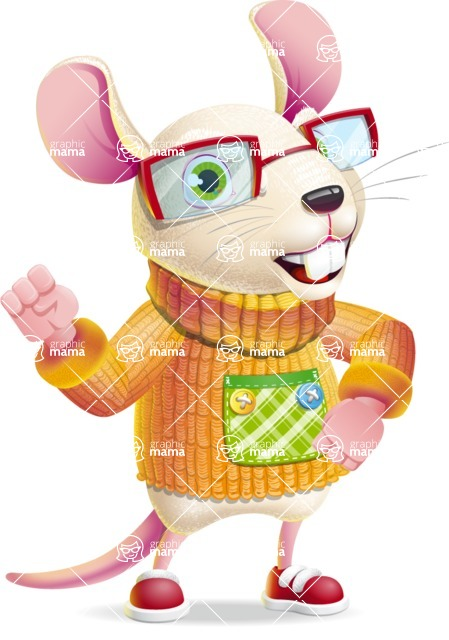 Cute Little Mouse Cartoon Character - with Angry face