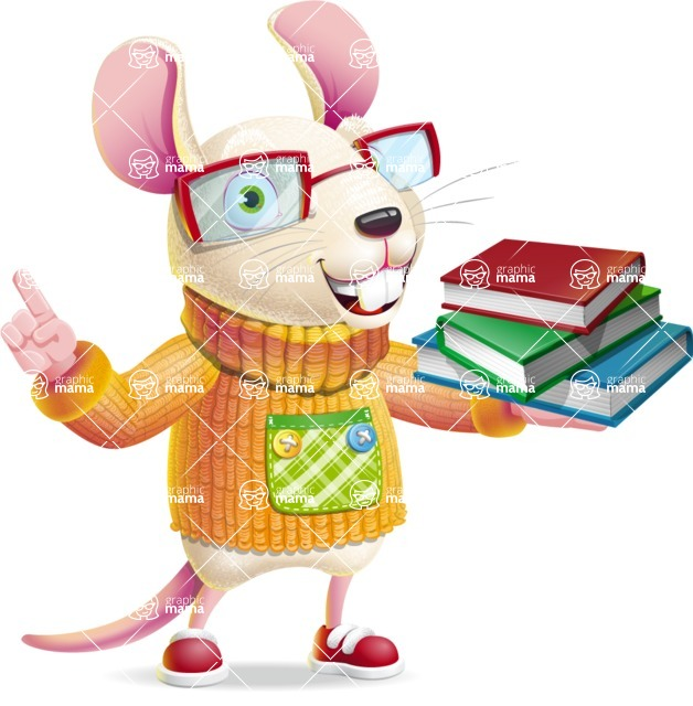 Cute Little Mouse Cartoon Character - with Books