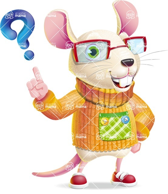 Cute Little Mouse Cartoon Character - with Question mark