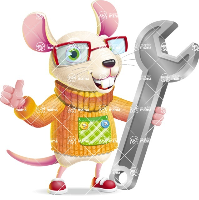 Cute Little Mouse Cartoon Character - with Repairing tool wrench