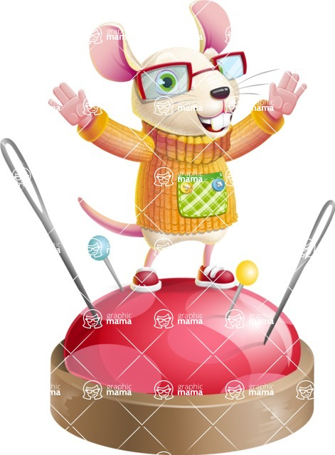 Cute Little Mouse Cartoon Character - with Success on Top
