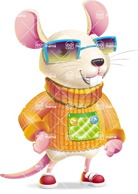 Cute Little Mouse Cartoon Character - with Sunglasses