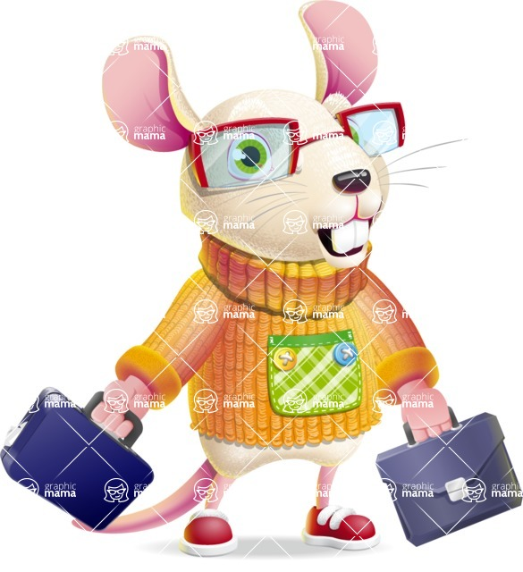 Cute Little Mouse Cartoon Character - with Two briefcases