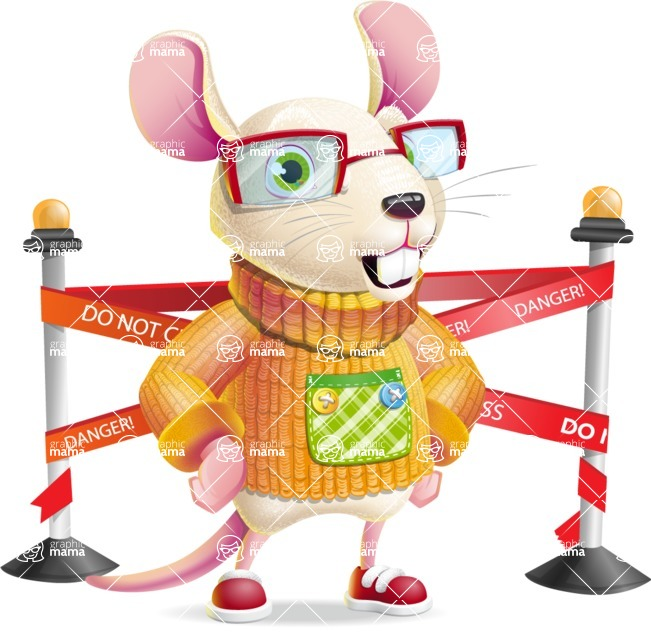 Cute Little Mouse Cartoon Character - with Under Construction sign