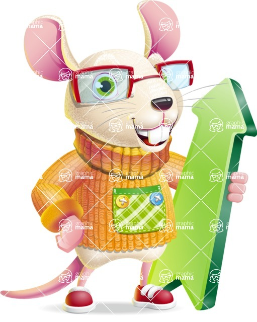 Cute Little Mouse Cartoon Character - with Up arrow
