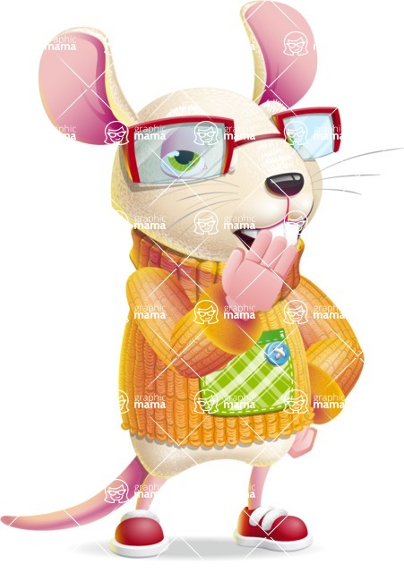 Cute Little Mouse Cartoon Character - Yawning