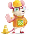 Cute Little Mouse Cartoon Character - as a Construction worker