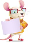 Cute Little Mouse Cartoon Character - Holding a Blank sign