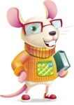 Cute Little Mouse Cartoon Character - Holding a book