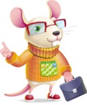 Cute Little Mouse Cartoon Character - Holding a briefcase
