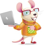 Cute Little Mouse Cartoon Character - Holding a laptop