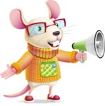 Cute Little Mouse Cartoon Character - Holding a Loudspeaker