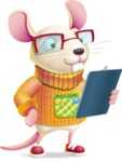 Cute Little Mouse Cartoon Character - Holding a notepad