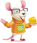 Cute Little Mouse Cartoon Character - Holding a piece of cheese