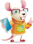 Cute Little Mouse Cartoon Character - Holding an iPad
