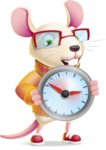 Cute Little Mouse Cartoon Character - Holding clock
