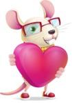 Cute Little Mouse Cartoon Character - Holding heart