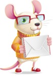 Cute Little Mouse Cartoon Character - Holding mail envelope