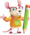 Cute Little Mouse Cartoon Character - Holding Pencil