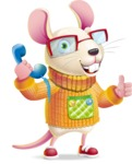 Cute Little Mouse Cartoon Character - Holding phone with thumbs up