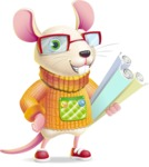 Cute Little Mouse Cartoon Character - Holding Plans